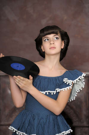 the girl with vinyl records Stock Photo - 13756165