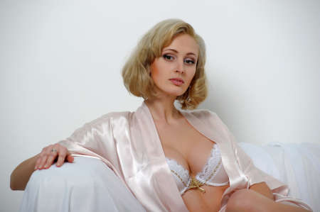 sexy blonde in a negligee Stock Photo - 13931837