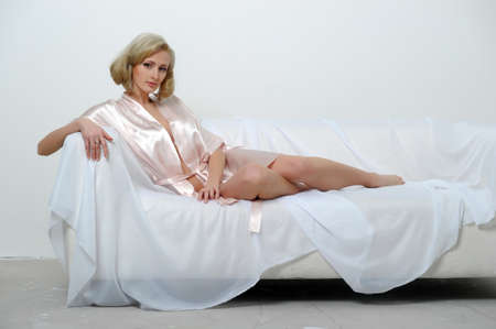 sexy blonde in a negligee photo