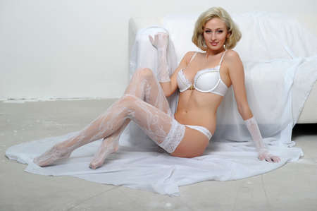 Lovely blond model in lingerie Stock Photo - 13255947