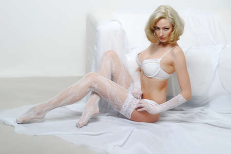Lovely blond model in lingerie Stock Photo - 13255912
