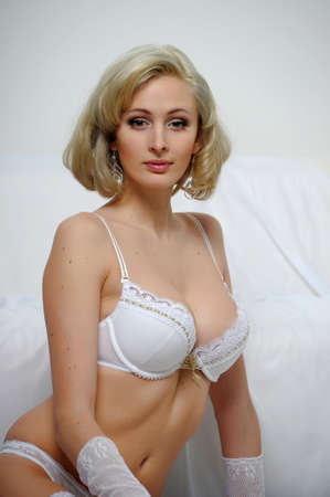 Lovely blond model in lingerie photo