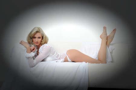 Lovely blond model in lingerie