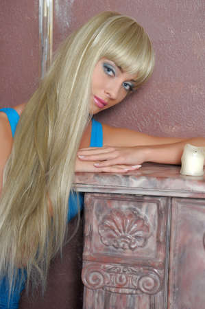Blonde with candles photo