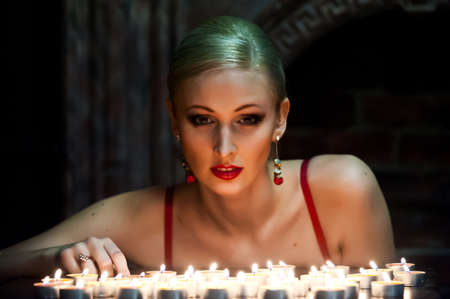 the blonde with candles Stock Photo - 13219075