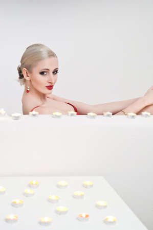 the blonde with candles Stock Photo - 13219135