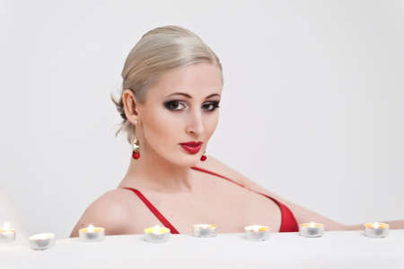 the blonde with candles photo