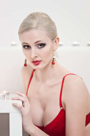 the blonde with candles Stock Photo - 13219065