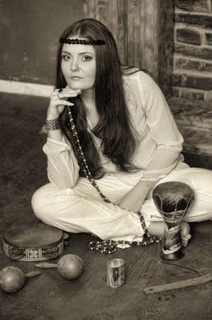 neanderthal women: Hippie style portrait of beautiful girl Stock Photo