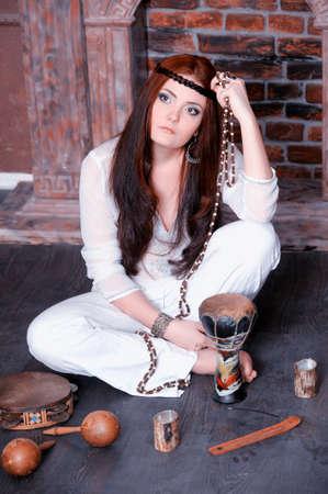 Hippie style portrait of beautiful girl Stock Photo - 13730132