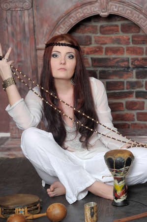 spirit medium: Hippie style portrait of beautiful girl Stock Photo