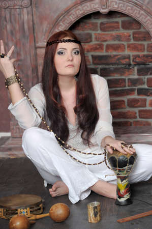 Hippie style portrait of beautiful girl Stock Photo - 13730129
