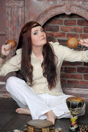 percussionist: Hippie style portrait of beautiful girl Stock Photo