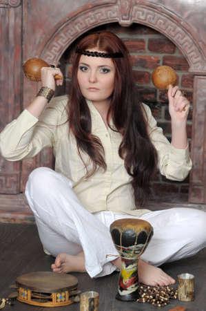 Hippie style portrait of beautiful girl Stock Photo - 13730118