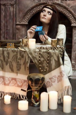 woman with tarot cards Stock Photo - 18434717