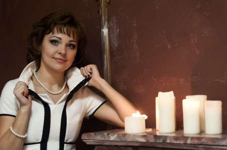 portrait of a girl at night with candles Stock Photo - 15151296