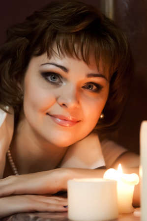 portrait of a girl at night with candles Stock Photo - 15151288