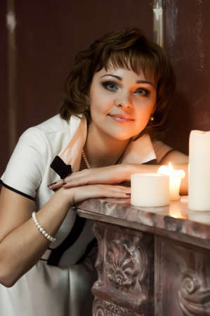 portrait of a girl at night with candles Stock Photo - 15151293