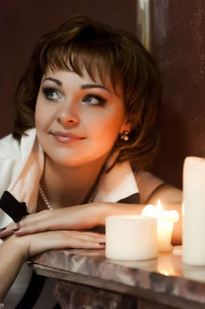 portrait of a girl at night with candles Stock Photo - 15151290