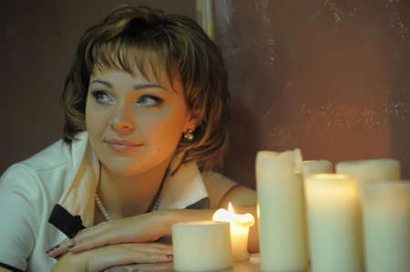 portrait of a girl at night with candles Stock Photo - 15151286