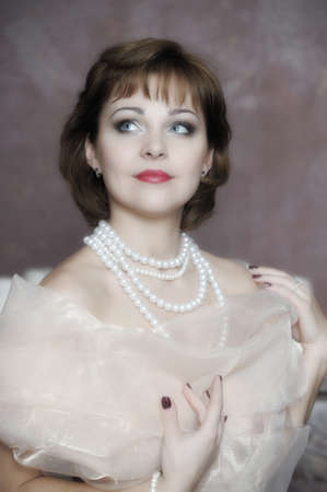 retro portrait of a woman with a pearl necklace Stock Photo - 18339758