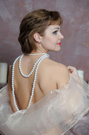 retro portrait of a woman with a pearl necklace Stock Photo - 18339783