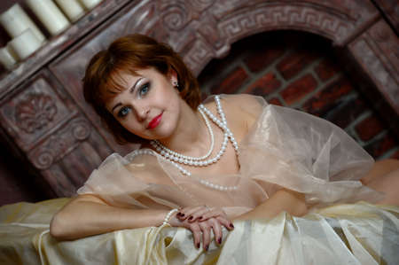 retro portrait of a woman with a pearl necklace Stock Photo - 18339839