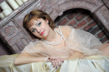 retro portrait of a woman with a pearl necklace Stock Photo - 18339819