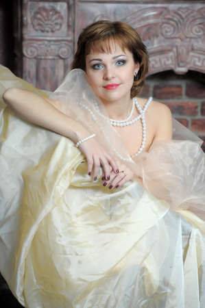 retro portrait of a woman with a pearl necklace Stock Photo - 18339822