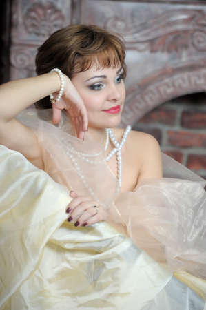 retro portrait of a woman with a pearl necklace Stock Photo - 18339804