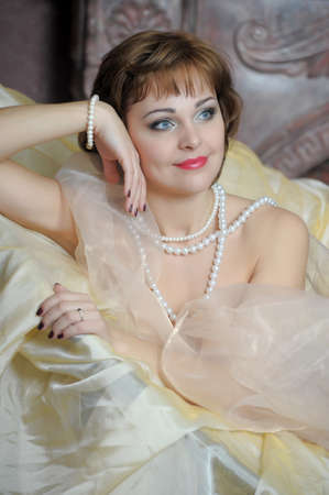 retro portrait of a woman with a pearl necklace Stock Photo - 18339802