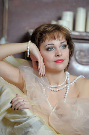 retro portrait of a woman with a pearl necklace Stock Photo - 18339815