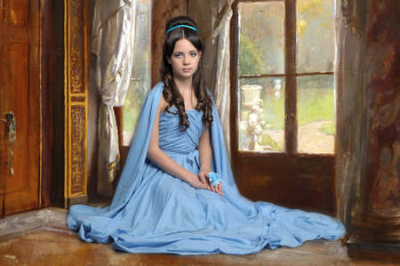 castle interior: Young victorian lady