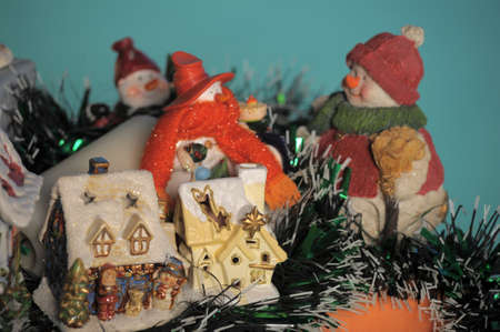 Christmas porcelain lodges and snowman photo