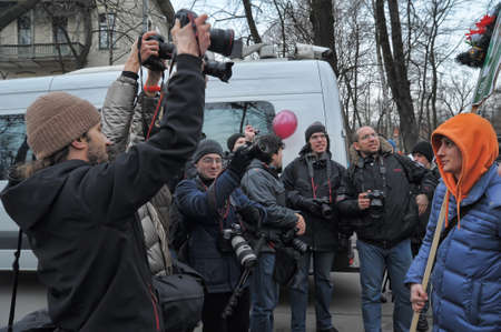 nationalists: Newspaper photographers removing opposition meeting For fair elections,St-Petersburg , Russia, 24.03.2012