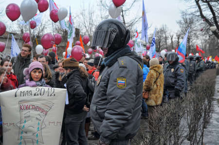 nationalists: Opposition meeting for fair elections in Saint-Petersburg, Russia, 24 march 2012 Editorial