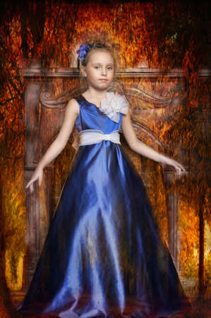 Little Girl Looks Like A Small Princess In Beautiful Blue Dress Stock Photo - 15283066