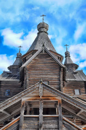 Old Russian Orthodox wooden church of 16-17th century, museum of national wooden architecture  Russia, Velikiy Novgorod  photo
