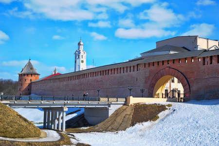 Panorama of Novgorod Kremlin and Volkhov  photo
