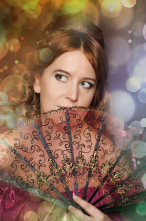 The romantic lady of the Victorian era with a fan Stock Photo - 13153495