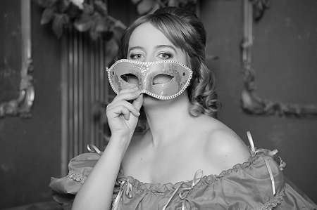 vintage  woman with a mask Stock Photo - 13153535
