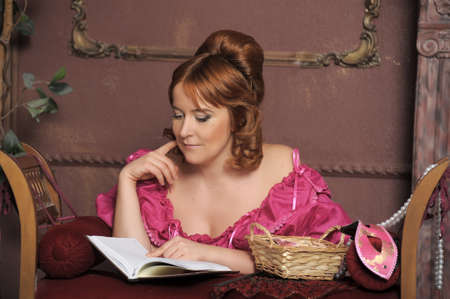 historical romance:  medieval lady with the book