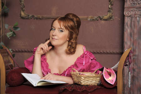 medieval lady with the book Stock Photo - 13133822