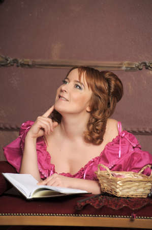 medieval lady with the book Stock Photo - 13133815