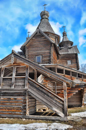 Wooden historic house in Veliky Novgorod, Russia