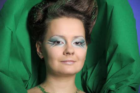 Beautiful woman with green fresh make-up Stock Photo - 13085653
