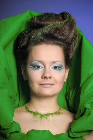 Beautiful woman with green fresh make-up Stock Photo - 13085654