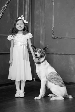Vintage portrait of a little girl with dog Stock Photo - 13146510