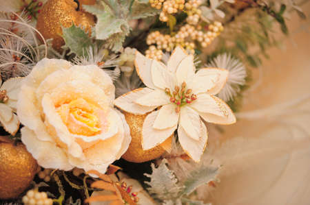 Floral Arrangement with white flowers, roses photo