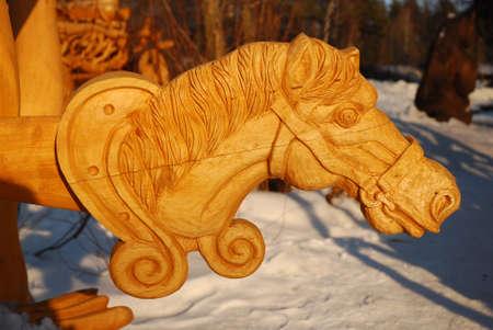 Wooden horse head photo